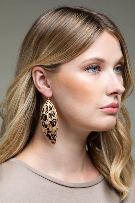 Leopard Leaf Metal Earrings