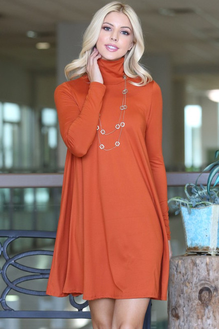 Solid Turtleneck Tunic Dress