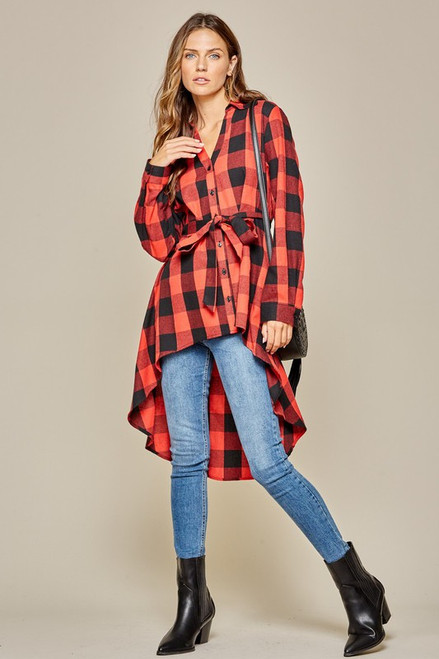 Plaid Drammatic Flannel Top