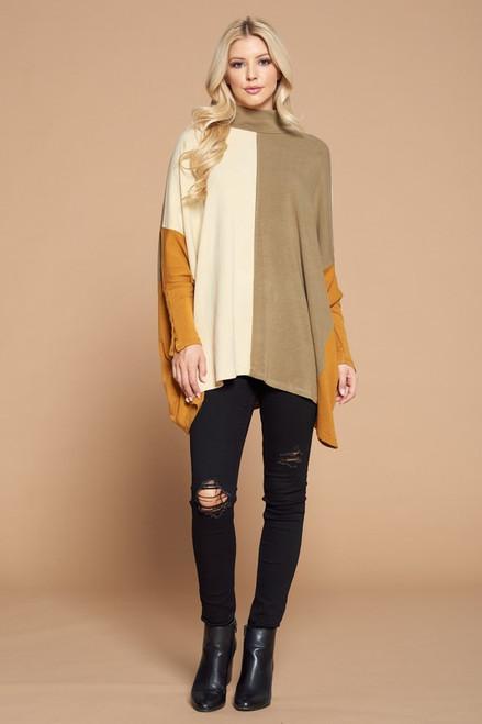 Khaki Colorblock Tunic