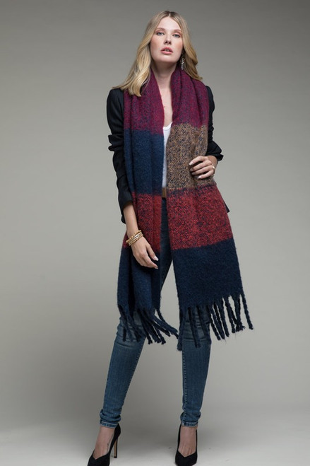 Blue Chunky Wide Stripe Scarf