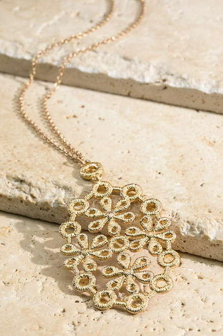 Oval Lace Flower Pendant