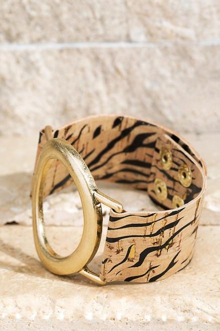 Cork Leopard Oval Bracelet