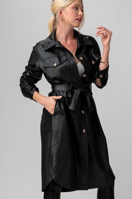 Black Faux Leather Shirt Dress