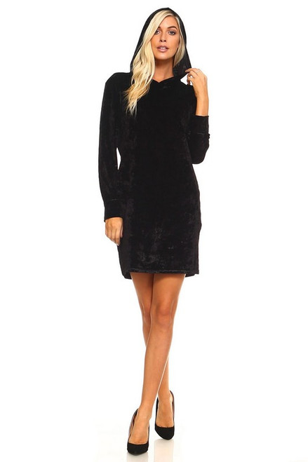 Black Velvet Hooded Mini Dress