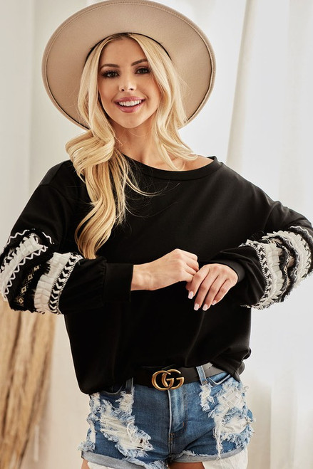 Black Mixed Ruffle Sleeve Top