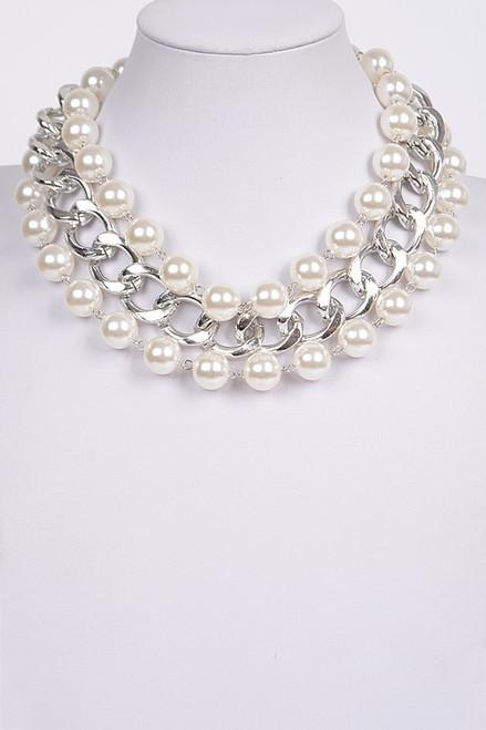 Multi-Strand Pearl Chain Necklace