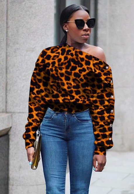 Leopard Button One-Shoulder