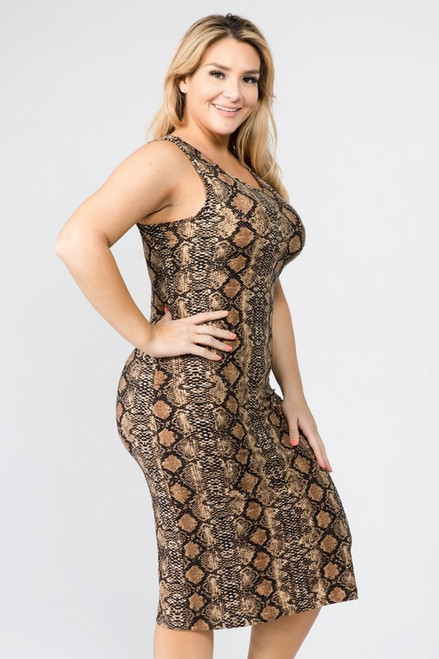 Curvy Snake Brown Bodycon