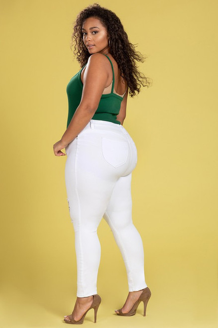 Curvy White Distressed Jeans