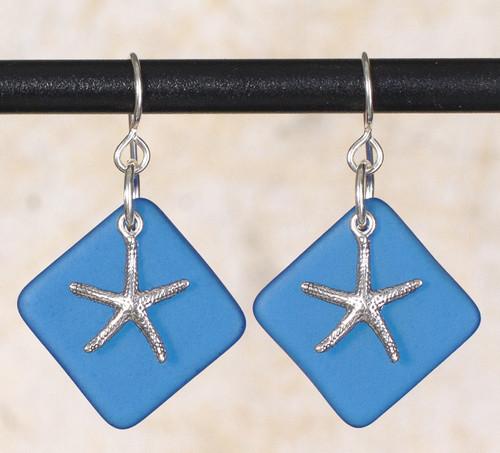 Seaglass Skinny Starfish Charm Earring