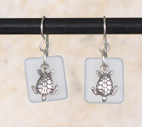 Seaglass Sea Turtle Charm Earrings