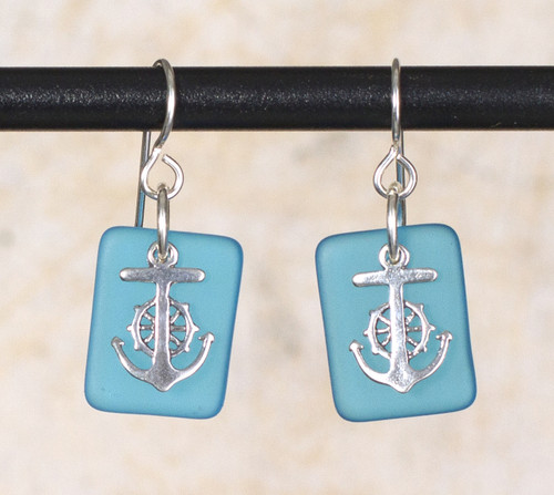 Seaglass Wheel & Anchor Charm Earring
