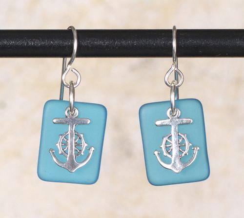 Seaglass Wheel & Anchor Charm Earring