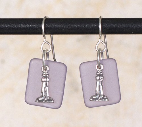 Seaglass Light house Charm Earring