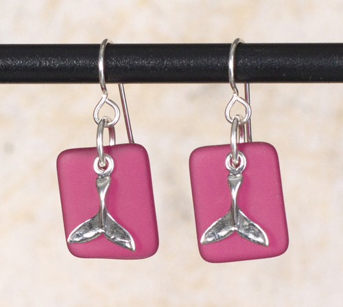 Seaglass Whale Tail Charm Earring