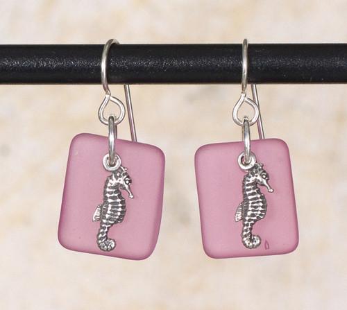 Seaglass Seahorse Charm Earrings