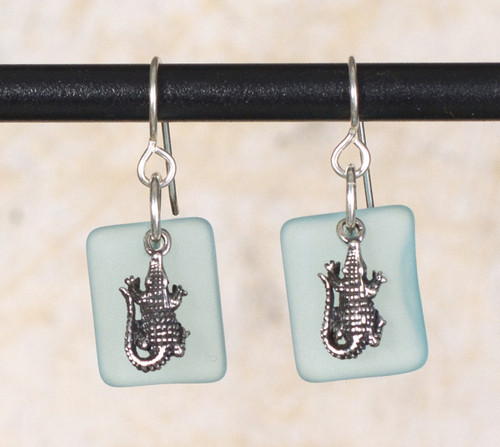Seaglass Alligator Charm Earring