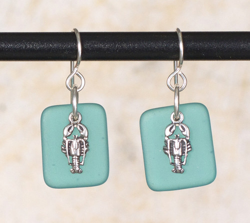 Seaglass Lobster Charm Earring