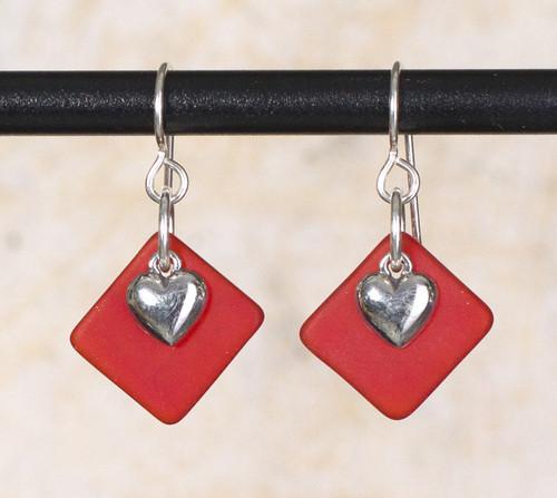 Seaglass Heart Charm Earrings