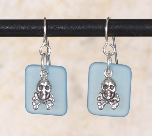 seaglass Skull $ Crossbones charm earring