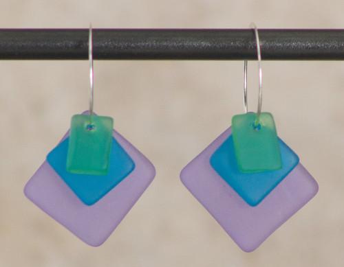 Seaglass Triple Hoops