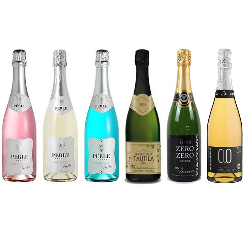 Sparkling Wine Assortment Featuring Six Non-Alcoholic Sparkling Wines 750 mL Each