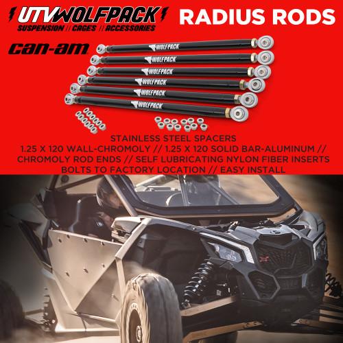 Can Am Maverick X3 XRS 72 Model Radius Rods Heavy Duty Chromoly Adjustable UTV Wolfpack Black