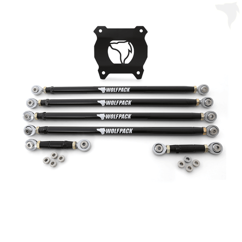Polaris RZR Chromoly Radius Rod package includes: Radius Rods // Spacers // Rear Plate // Down Links