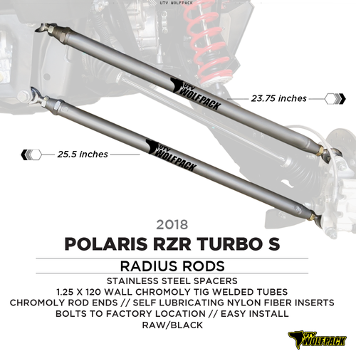 (2018-20)Polaris RZR XP1000 Turbo S Radius Rods Chromoly Heavy Duty