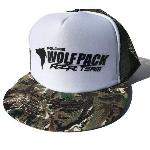 UTV Wolfpack Camo Hat White with Black Logo Snapback