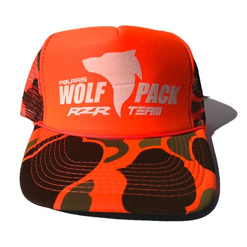 UTV Wolfpack Camo Hat Orange with White Logo Snapback Trucker