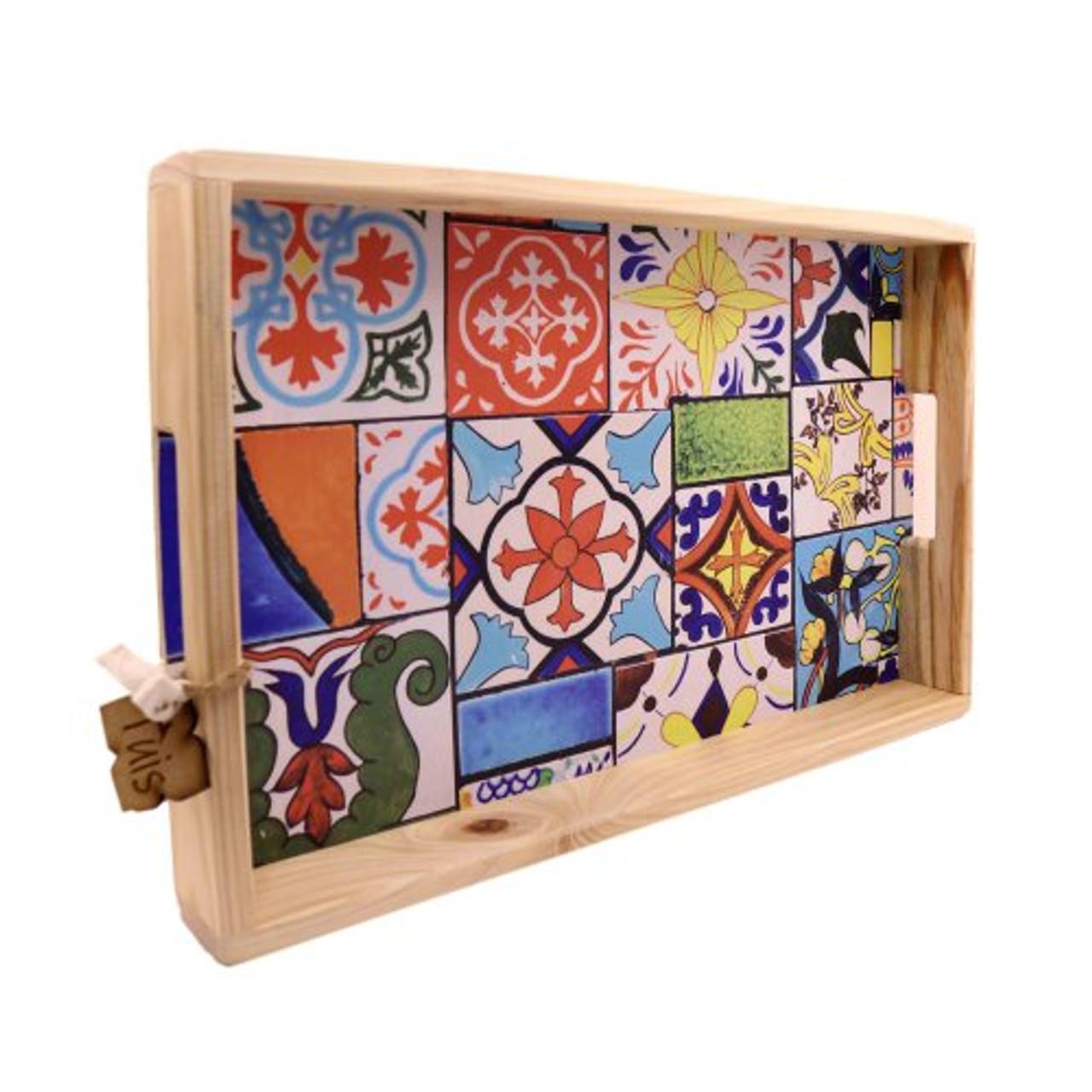 Wtray5 Printed Wooden Serving Tray Mosaic Bali Trading Wholesale