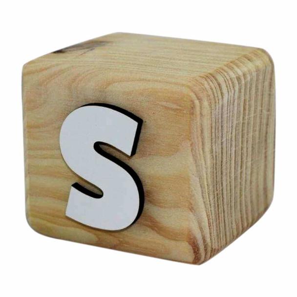 BLOCKS White Handcrafted Letter S