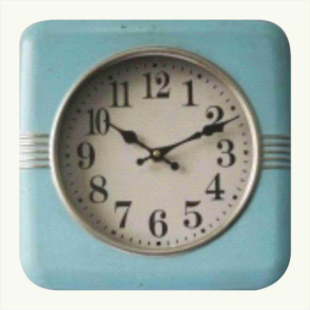 7Q067 Blue Square Hanging Wall Clock