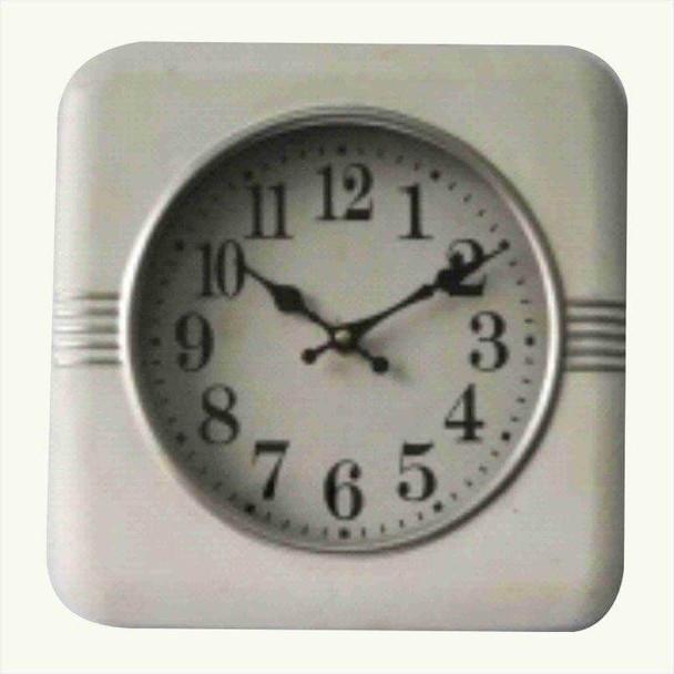 7Q0673 White Square Hanging Wall Clock