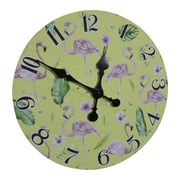 731511 Wall Clock - Flamingos And Leaves