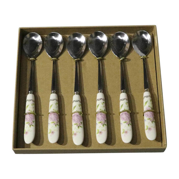 RL1 Cutlery - Cake Spoons - Pink Rose