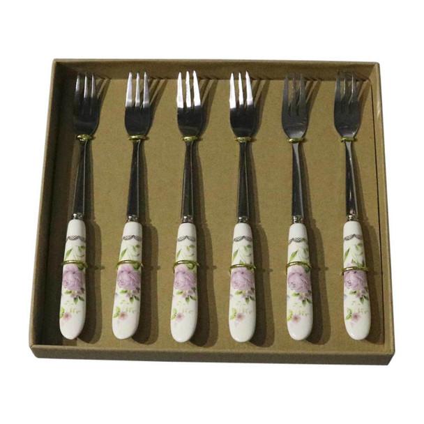 RL2 Cutlery - Cake Forks - Pink Rose