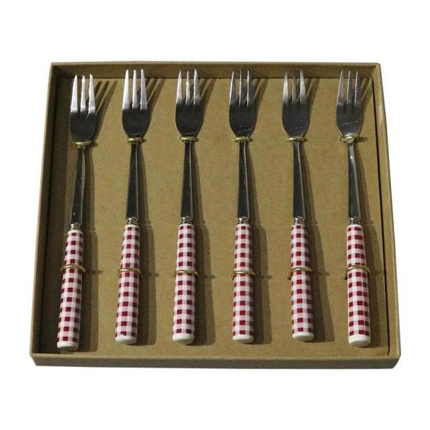 RL4 Cutlery - Cake Forks - Red Checks