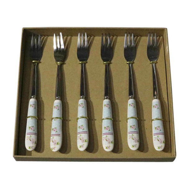 RL10 Cutlery - Cake Forks - Roses And Polka Dots (Blue)
