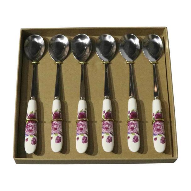 RL11 Cutlery - Cake Spoons - Maroon Roses