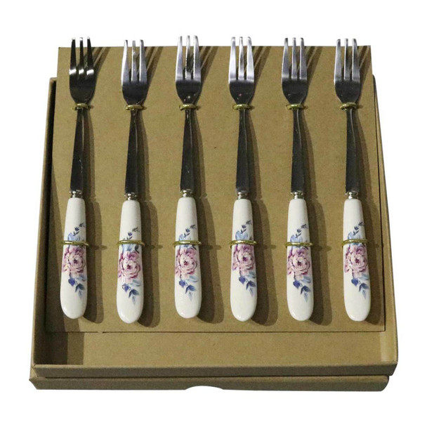 RL14 Cutlery - Cake Forks - Pink Rose And Blue Leaves