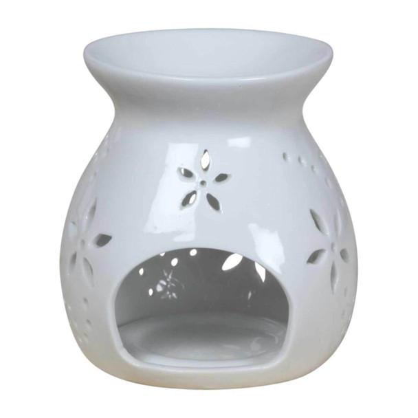 A016 White Ceramic Burner -Flower