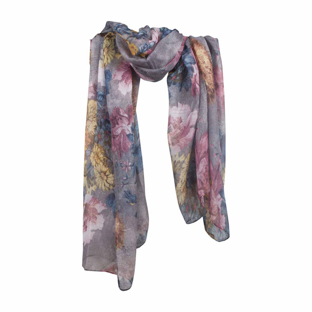 HY7B Yellow Gold Flowers Grey Scarf