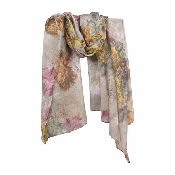 HY7C Gold Pink Flowers Cream Scarf