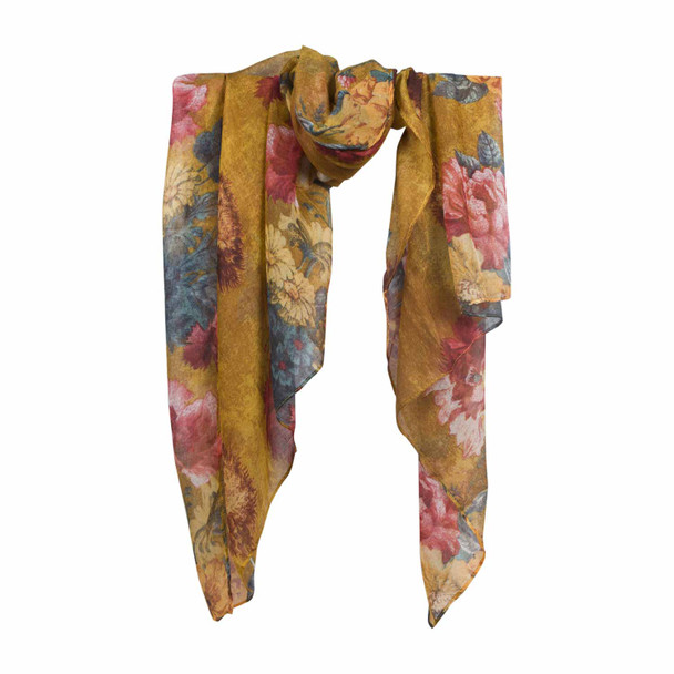 HY7D Red Pink Flowers Mostert Scarf