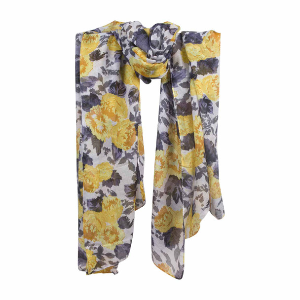 XY1A White Yellow Green Flowers Scarf