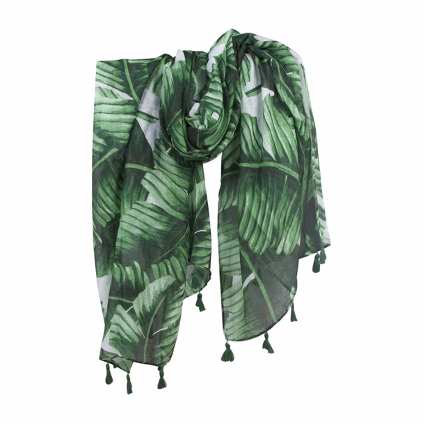 SKF1G Green Palm Leaves Scarf