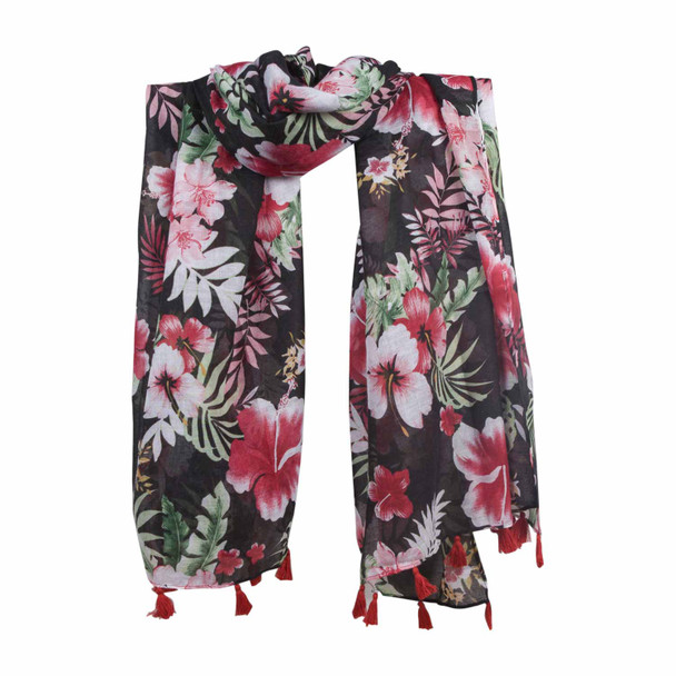 SKF1H  Pink Red Flowers Black Scarf